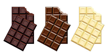 vector set of chocolate bar pieces isolated on white background. milk, black and white chocolate blocks with a bite