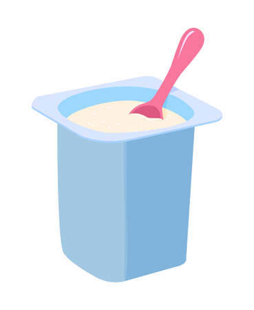 vector yogurt in a container with plastic spoon isolated on white background. healthy milk dairy food concept. plastic package fruit yogurt