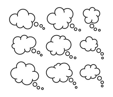 vector set of thought thin line bubbles isolated on white background. space for thinking or speech text. think or communication cloud symbol. people dialog bubble icon Ilustração