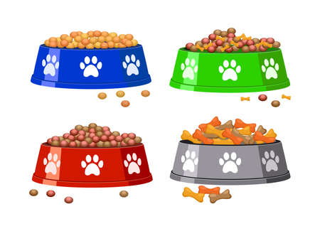 vector dog bowl with dog footprints and dog food. colorful set of animal pet food bowls with pile of food isolated on white background Ilustração