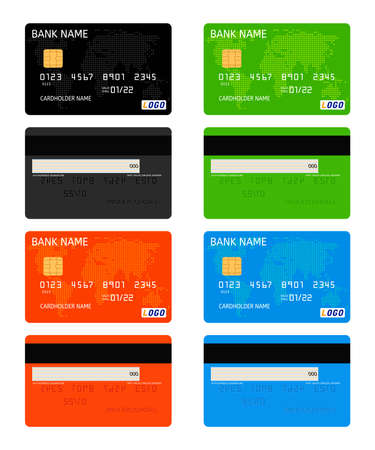 vector realistic bank credit card template isolated on white background. business finance design illustration. black, green, red and blue bank credit cards with dotted world map decoration