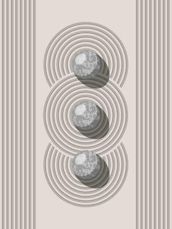vector japanese zen stone and sand garden for meditation concept.