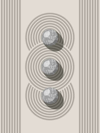 vector japanese zen stone and sand garden  for meditation concept.