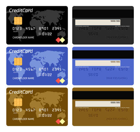 vector realistic bank credit card template isolated on white background. business finance design illustration. black, blue and golden bank credit cards with world map decoration Ilustração