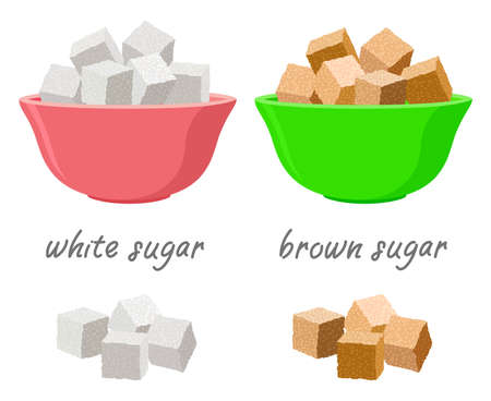 vector sugar cubes in sugar bowls and in piles. set of white and brown sugar cubes and text. sweet food for energy source. cooking background with natural sweetener ingredient Ilustração