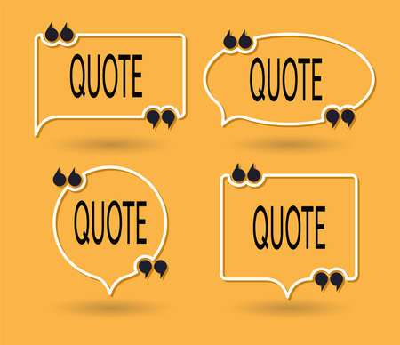 vector collection of quote forms for talk message, speech remark or comment. thin white line text quotation box isolated on yellow background. saying form for motivation words or quote reference, idea