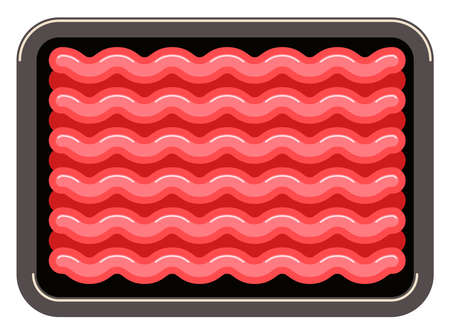 vector minced meat in plastic tray isolated on white background, ground raw beef or pork in black package. flat graphic style. fresh meat ready for cooking Ilustração