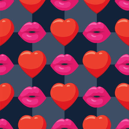 Vector seamless  with woman pink lips with lipstick and hearts.