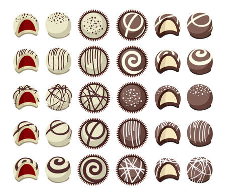 vector collection of chocolate candies for dessert, top view, side view and broken. flat candy icon isolated on white background Ilustração