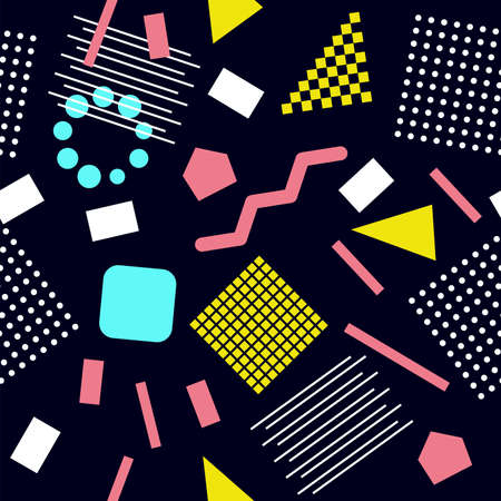 Vector seamless 80s or 90s pattern, hipster style with chaotic geometric shapes