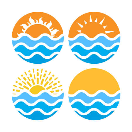Vector circles with sea or ocean water and summer sun isolated on white