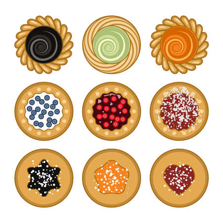 Vector jam and chocolate pie set isolated on white