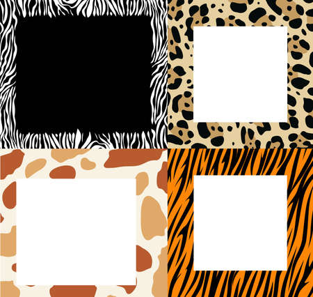 Vector set of frame borders with abstract zebra skin, cow skin, leopard skin and tiger skin textures
