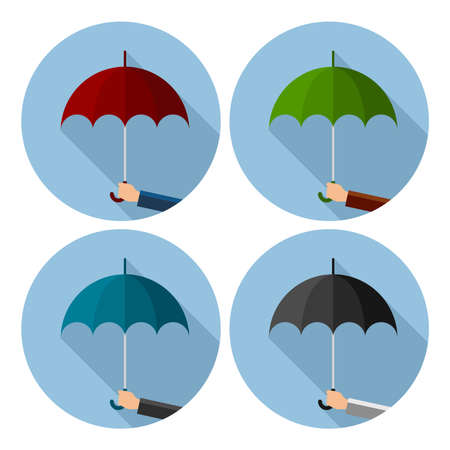 vector set of flat icons of umbrella protection from rain drops. symbol of man's hand holds umbrella isolated on white background