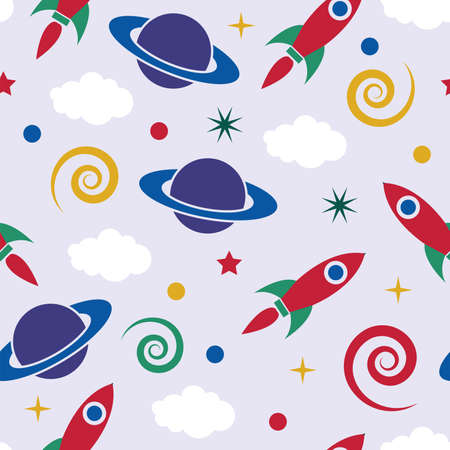 vector seamless pattern with stylized retro rocket ship in space, saturn planet, clouds, stars and spiral galactic constellations. seamless background for paper or textile decoration design