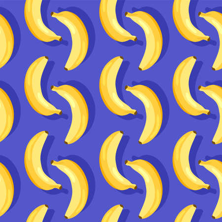 vector seamless pattern with yellow ripe bananas on blue background. food illustration of fresh tropical banana fruits for seamless summer patterns