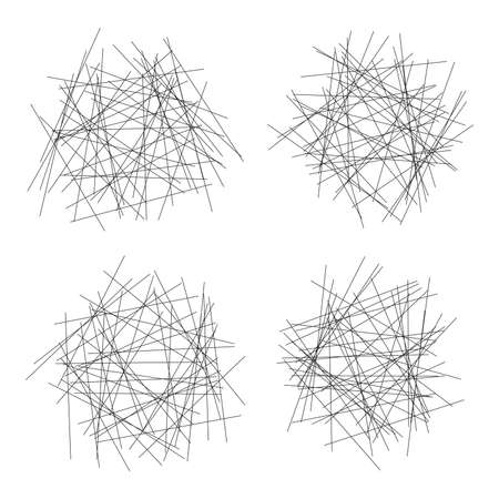 vector mess of tangled straight thin lines isolated on white background. chaos scribble illustration. messy pattern with tangled and chaotic line Ilustração