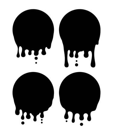 vector ink splatter set isolated on white background. black paint splash with paint drips. grunge illustration with ink stain. collection of abstract shapes of inkblot, graphic design elements