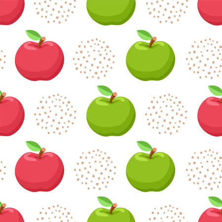 vector apple fruit seamless background. healthy natural diet food illustration. seamless pattern with fresh green and red apples Ilustração