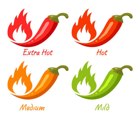 vector chili pepper with flames of fire as spicy food symbols isolated on white background. hot chili pepper spice for mexican food. red, green and orange peppers Ilustração