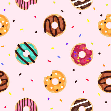 vector seamless donut background pattern. modern flat style icons of glazed colorful donuts with glaze, chocolate and sprinkles, isolated doughnuts on pink background. simple doughnut icon design