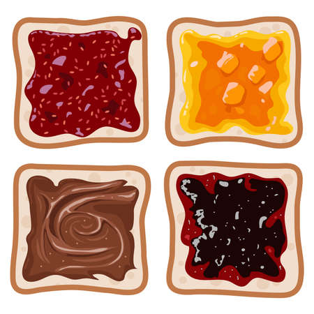 vector set of white toast bread slices with fruit jam and chocolate. top view, flat style. bread toast slice isolated on white background