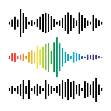 vector music background of audio sound waves pulse, equalizer voice frequency, black and white and colorful set simple illustration of audio sound wave signal