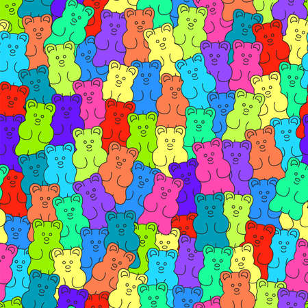 vector gummy bear candies seamless background. simple gummy bear clipart drawing with thin lines
