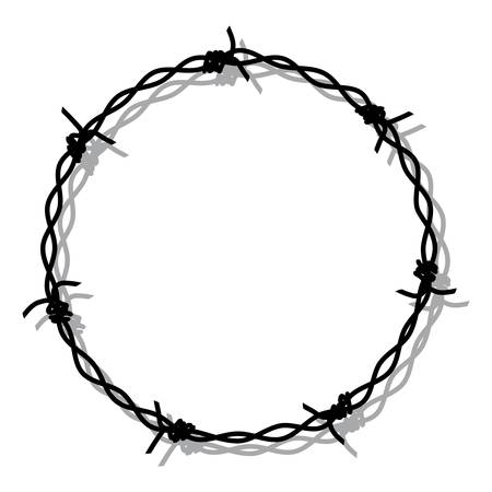 vector hand drawing of barbed wire prison boundary. barbed wire round frame border with shadow Ilustração