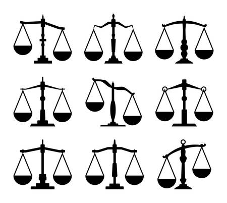 vector set of law scales of justice icons. weight balance, integrity of law concept illustration. black and white scales flat symbols Ilustração