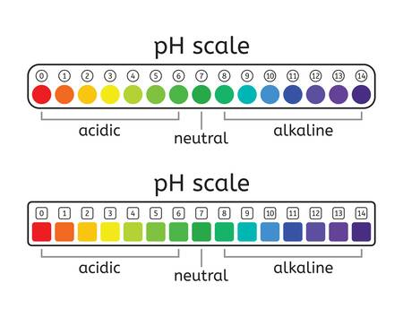 vector ph scale set of acidic, neutral and alkaline value chart for acid and alkaline solutions. ph scale measurement illustration isolated on white background