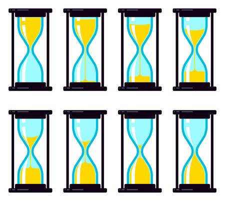 vector collection of abstract hourglass clock colorful symbols isolated on white background. time countdown sand watch. set of hour glass icons Ilustração