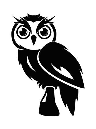 vector owl icon isolated on white background. sitting owl bird,  graphic design, wisdom symbol