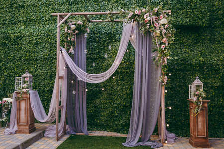 Decorated arches for the wedding romantic ceremony