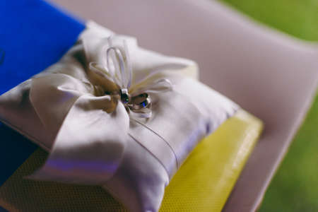 Two wedding rings on the pillow