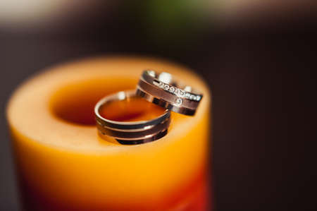Two wedding rings of the bride and groom close-up