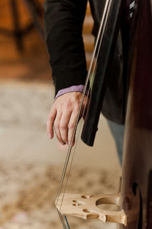 Hand of the musician on the bass strings Stock Photo