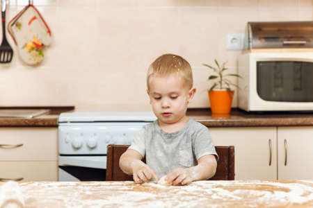 A little kid boy helps mother to cook Christmas ginger biscuit in light kitchen. Happy fair-haired child in gray T-shirt 2-3 years at the table with dough and flour in weekend morning at home.