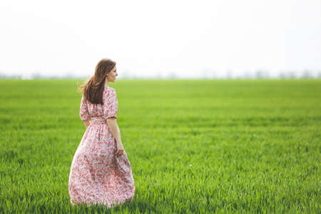 Back view Young brunette smiling beautiful woman in light patterned dress looking aside walking in sunny weather in field on green background. Imagens