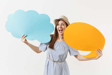 Young tender elegant charming woman in blue dress, hat with empty blank Say cloud, speech bubble isolated on white background. People sincere emotions, lifestyle concept. Advertising area. Copy space
