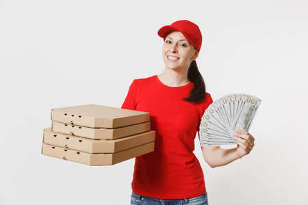 Delivery woman in red cap, t-shirt giving food order italian pizza in cardboard flatbox boxes isolated on white background. Female pizzaman working as courier holding bundle of dollars, cash money Stok Fotoğraf