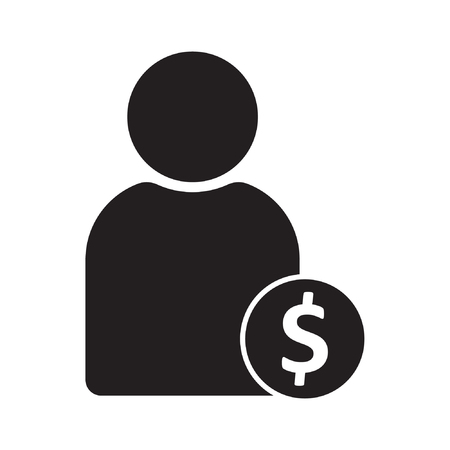 Vector illustration of user earnings icon. User Icon with dollar symbol