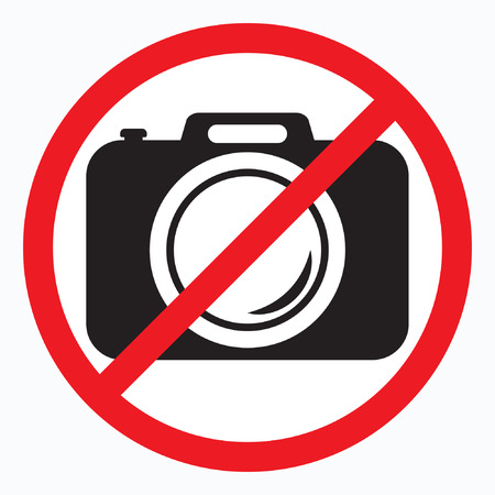 No cameras allowed sign. Red prohibition no camera sign. No taking pictures, no photographs.