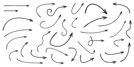 Set of vector curved arrows hand drawn. Sketch doodle style. Collection of pointers.