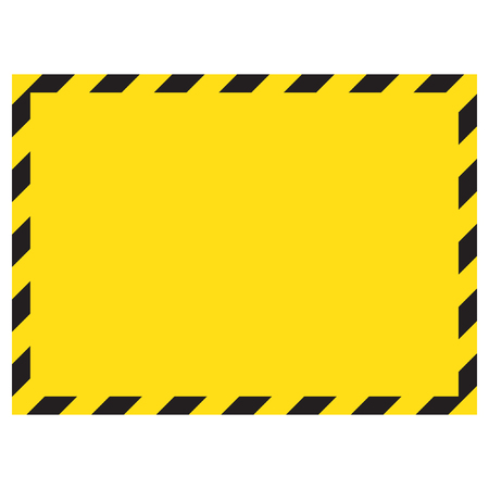 Warning striped square background, warning to be careful, potential danger, yellow & black stripes on the diagonal, vector template. Construction warning border