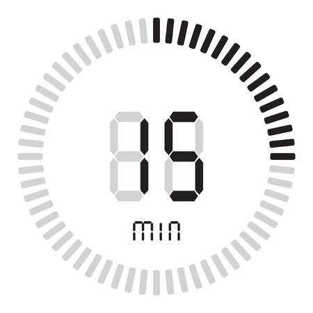 Il timer digitale 15 minuti. cronometro elettronico con quadrante sfumato Vettoriali