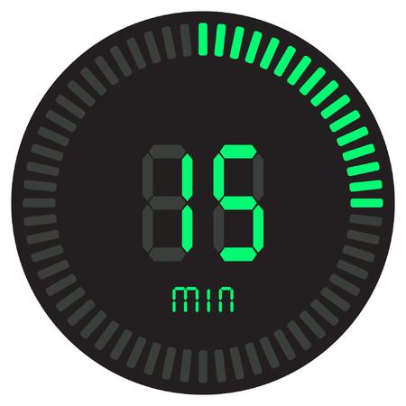 De groene digitale timer 15 minuten. elektronische stopwatch met gradiënt wijzerplaat