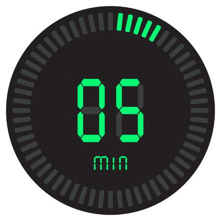 El temporizador digital verde de 5 minutos. cronómetro electrónico con esfera degradada