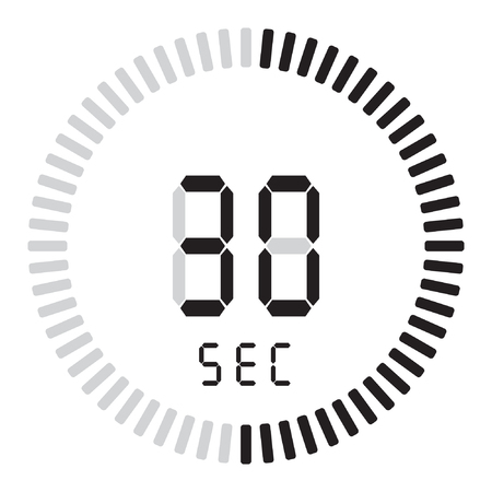 The digital timer 30 seconds. electronic stopwatch with a gradient dial