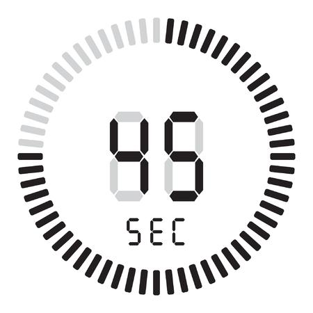 La minuterie numérique 45 secondes. chronomètre électronique avec cadran dégradé